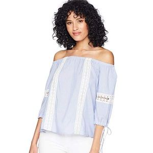 Zone Out Boho Off-Shoulder Embroidery Top